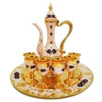 Oriental Set W/ Cups & Tray & Dallah (Set Of 8) - 002